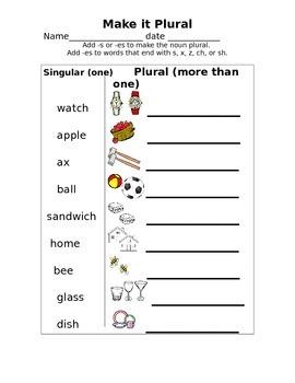Plural add s or es