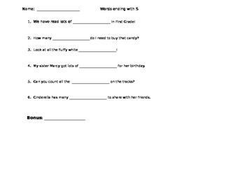 Plural adding S Assessment