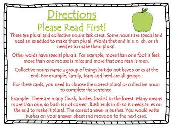 Plural and Collective Nouns Task Cards for Journeys Grade 2
