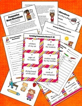 Possessive and Plural Nouns Bundle | Task Cards, Games, and Activities