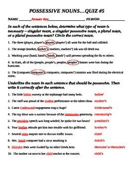 Plural and Possessive Nouns - QUIZ #5