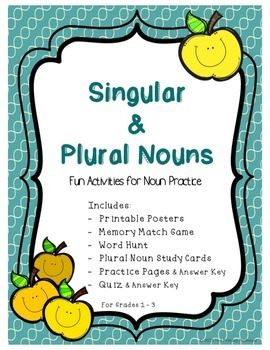 Plural and Singular Noun Activities, Practice Pages, and A