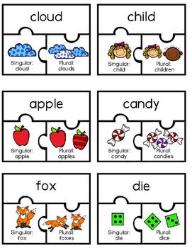 Plural and Singular Nouns Matching Game