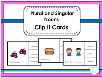 Plural and Singular Nouns Clip It Cards