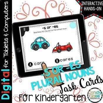 Kindergarten Plural -es Digital Task Cards for Google™ Use