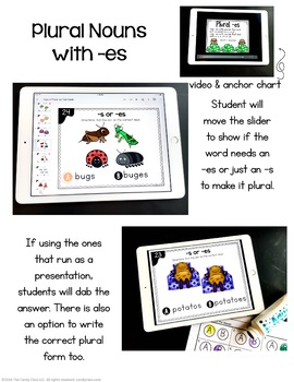 Plural -es Digital Task Cards - Paperless for Google Classroom Use