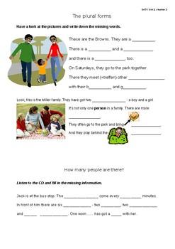 Plural forms nouns worksheet gap filling