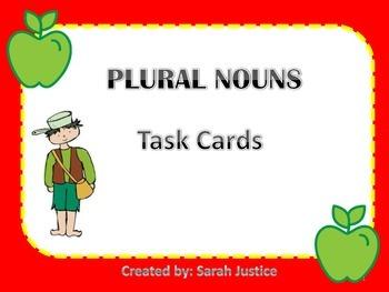Plural noun task card activity Powerpoint ( Johnny Appleseed)