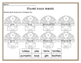 Plural nouns worksheet (Thanksgiving themed)