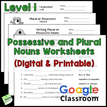 Plural or Singular Possessive Nouns Printables