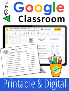 Plural or Singular Possessive Nouns Worksheets for Practice or Assessment