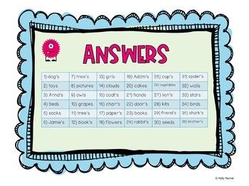 Plural or Possessive Task Cards