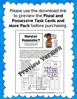 Plural or Possessive Task Cards and Game