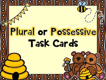 Plural or Possessive Task Cards- with QR Code Option