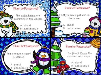 Plural or Possessive Winter Task Cards