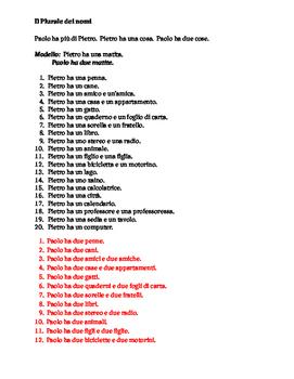 Plurale dei nomi Italian worksheet