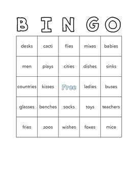 Plurals Bingo