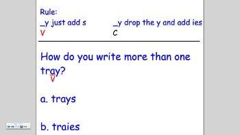 Plurals Ending in y add -ies