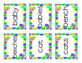 Plurals Memory Game Cards