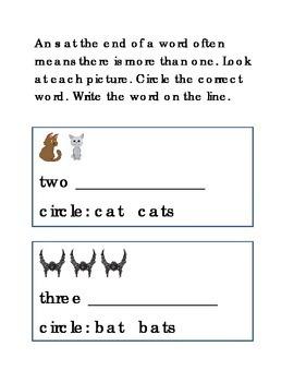Plurals More Than One Write Circle Reading Adding S Printable Kindergarten 3 pgs