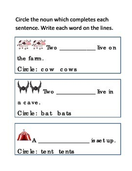 Plurals Nouns Write Circle Word Completes Sentence Emergent Reader Printable