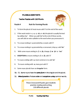 Plurals | Early Finishers | Crossword Puzzles | 130 Plural Nouns LIST | Gr 4,5,6