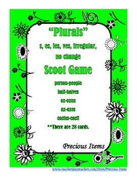 """Plurals"" Scoot Game (s,es,ies, ves, irregular, no change)"