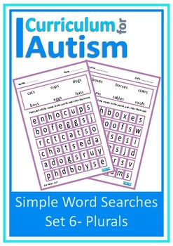 Plurals, Simple Word Search Puzzles, Autism, Special Education