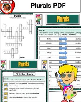 Plurals - Worksheets, Bulletin Display, and Activities