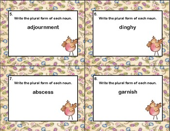 Plurals-Write The Plural-Task Cards-Middle School