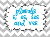 Plurals:  adding s, es, ies, and ves using word sorts, task cards and worksheets