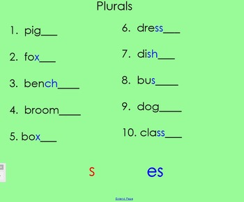 Plurals and Plurals with es