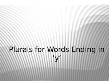 Plurals for Words Ending in 'y' PowerPoint