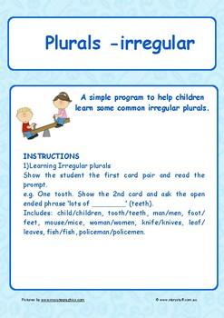 Plurals - irregular - oral language