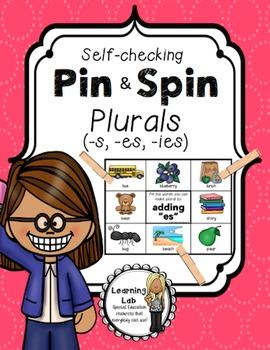 Plurals (s, es, ies) - Self-Checking Grammar Centers - Word Work