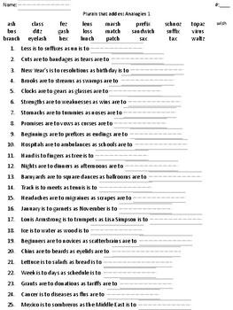 Plurals that add es: List and Analogies