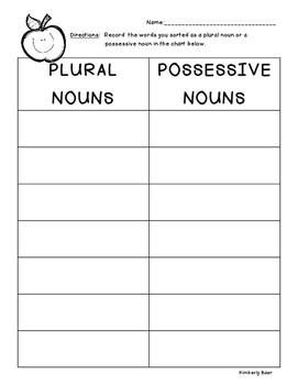 Plurals vs. Possessives Sorting Center and Recording Sheet