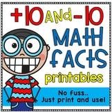 Plus 10 and Minus 10 Math Facts Printable Worksheets