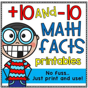 Plus 10 and Minus 10 Math Facts Printable Worksheets by Doodle Bugs ...