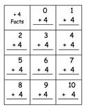 Plus Four Fact Flash Cards