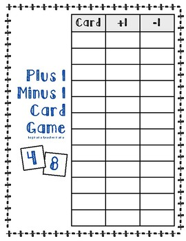 Plus Minus Card Games