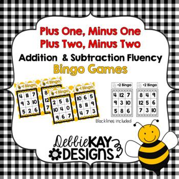 Plus One, Minus One, Plus Two, Minus Two Bingo:  Addition & Subtraction Fluency