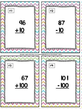 Plus and Minus 10 and 100 Task Cards & Game