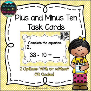 Plus and Minus Ten Task Cards: 1st Grade CC: Use place val