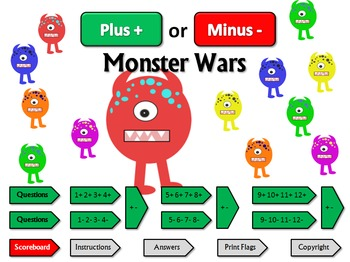 Plus or Minus Monster Wars: a quiz game for practicing foundation basic facts