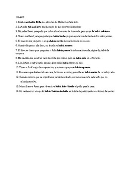 Realidades 3, Chapter 5. Pluperfect with irregular verbs. Quiz / Activities