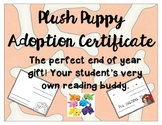 Plush Puppy Adoption Certificate for End of Year Gift