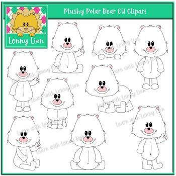 Plushy Polar Bear CU Clipart