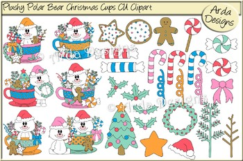 Plushy Polar Bear Christmas Cups CU Clipart