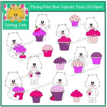 Plushy Polar Bear Cupcake Treats CU Clipart